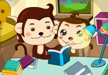 小猴子讀經